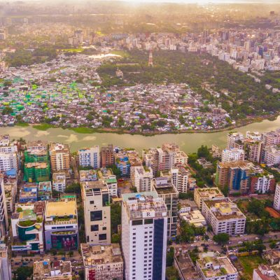 Drone image of Korail Slum.